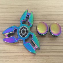Custom rainbow color zinc metal alloy hand spinner / ADHD decompression anxiety fidget spinner alloy / finger gyro toy