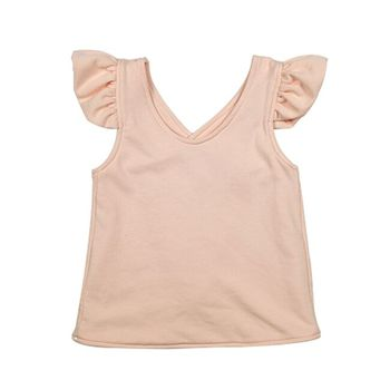 infant tank top plain cute t-shirt for kids 2018 cotton christmas shirt with flutters