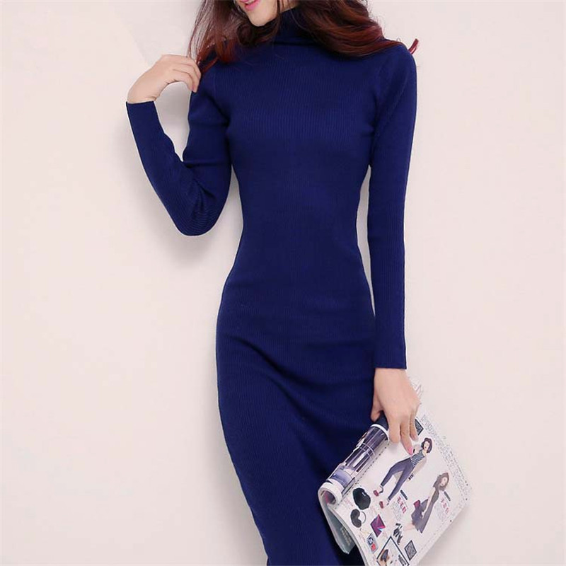 2015 new arrive women font b winter b font sweater dresses slim Turtleneck long knitted dress