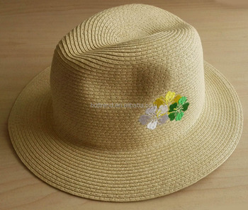 Paper Straw Fedora Hat With Flower Embroidery - Buy Embroideried ... b7c053935fde