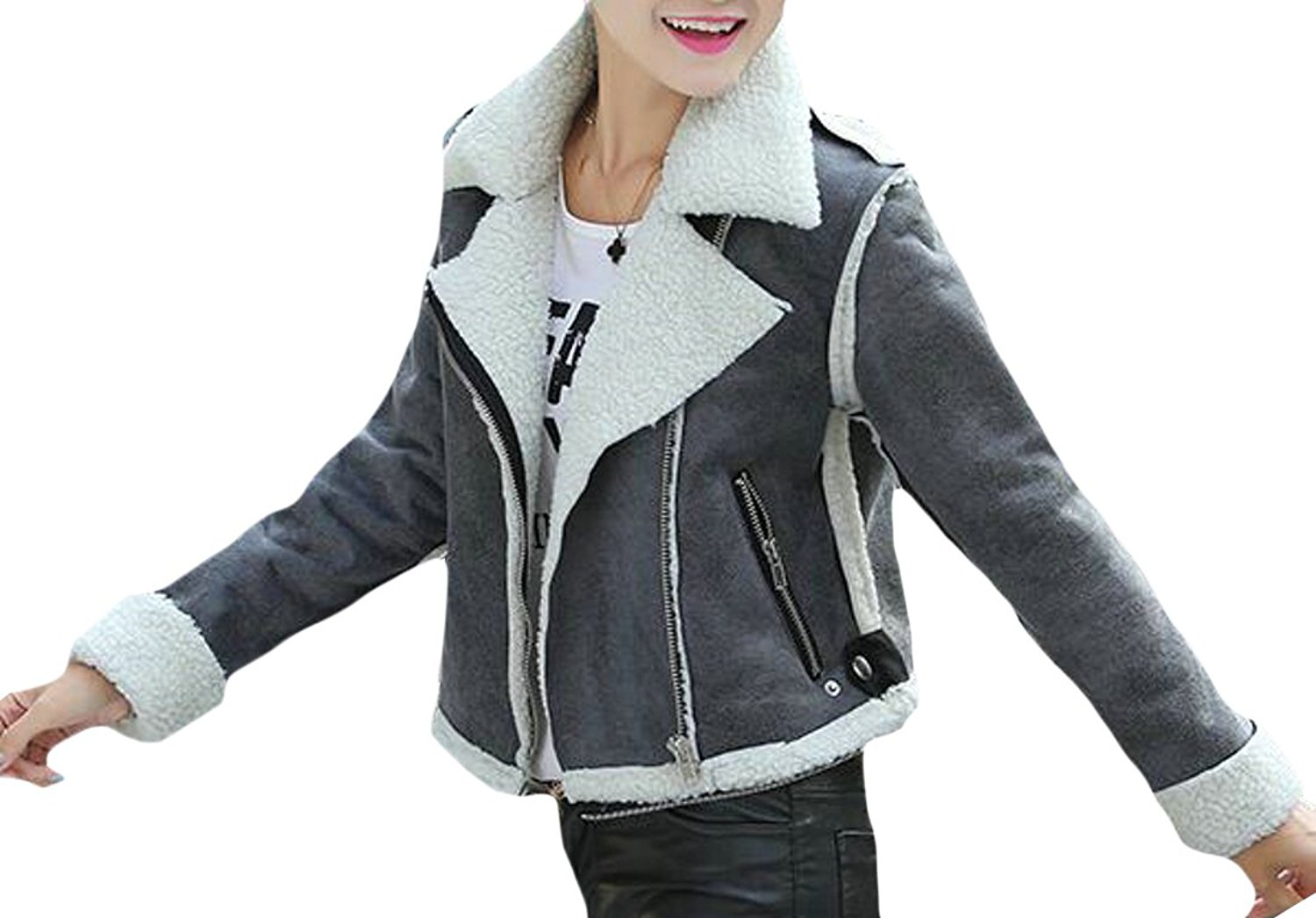 YUNY Women's Warm Faux Suede Leather Motorcycle Jacket Coat With Zipper