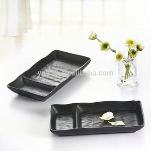 black 100% melamine rectangular divided appetizer / relish plates
