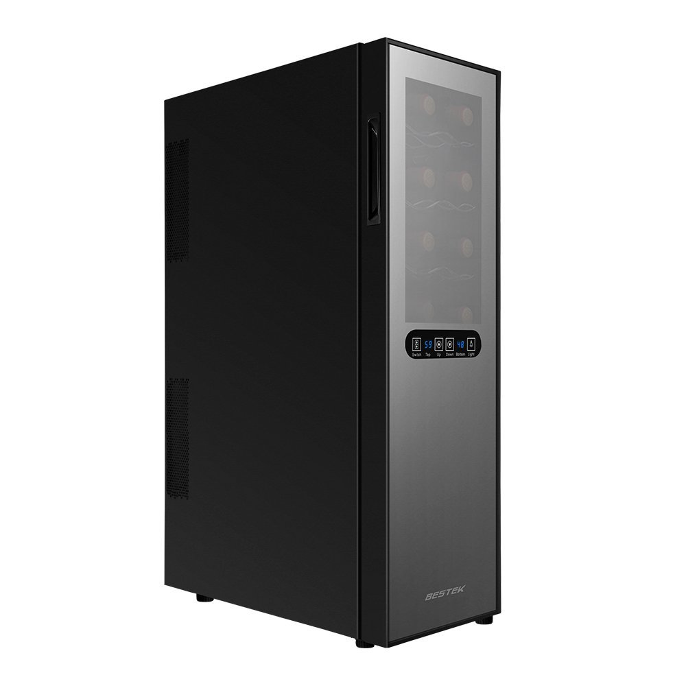 BESTEK 16 Bottle Dual Zone Thermoelectric Red & White Wine Cooler/Chiller, Counter Top Wine Cellar w/Sculpted Chrome Shelves, Double-Layer Tempered Glass Door, Quiet Operation Fridge (ETL Listed)