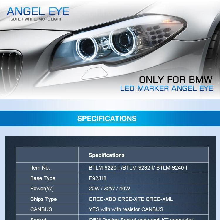 Brilliantek E92 H8 Ce Rohs Led Marker Angel Eye Light 12v 20w For ...