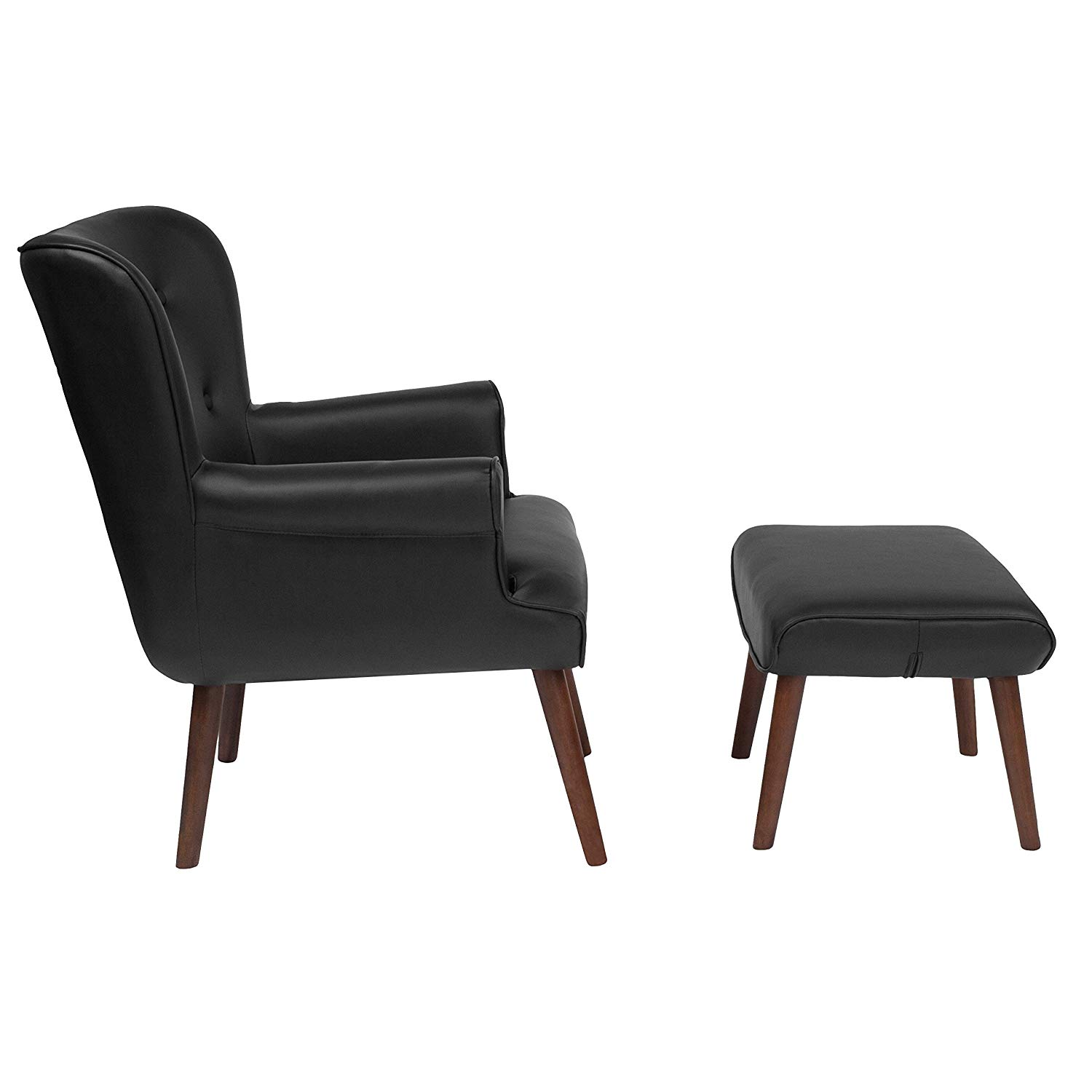 Get Quotations · MyEasyShopping Black Leather Upholstered Chair And Ottoman  Set Glider And Ottoman Set Chair Home