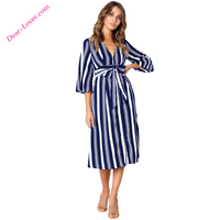 Office Ladies Fashion Striped V Neck Midi Shirt Dresses Women