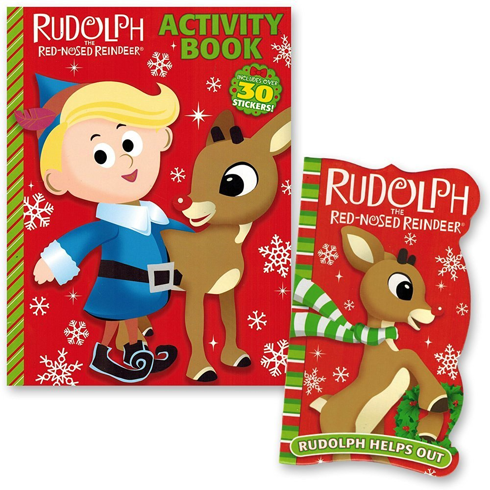 Rudolph the Red-Nosed Reindeer Christmas Book Set Kids Toddlers -- 2 Books (1 Rudolph Board Book, 1 Rudolph Coloring and Activity Book with Over 30 Stickers)