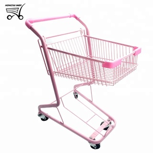 Double Layers Supermarket&Cosmetics store Shopping Baskets Cart pink kawayi trolley