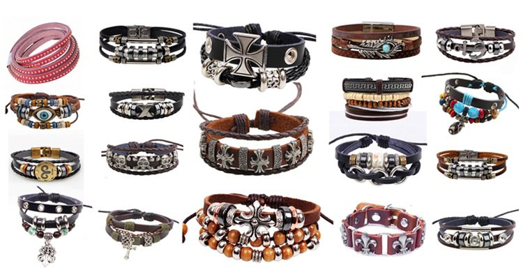 Fashion Jewelry Spot Wholesale Handmade Braided Leather Butterfly Bracelet, Wholesale Charm Magnetic Leather