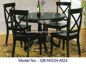 Round Table Madera.Black Color Wooden Dining Set 1 4 Of Round Table And Chairs For Elegant Home Sets Indoor Furniture From Malaysia Buy Malaysian Wood Dining Table