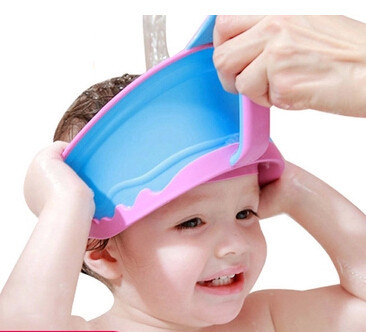 New Baby shampoo cap Baby care Pretect hair and ears Kids washing hats Fashion design latex shampoo caps