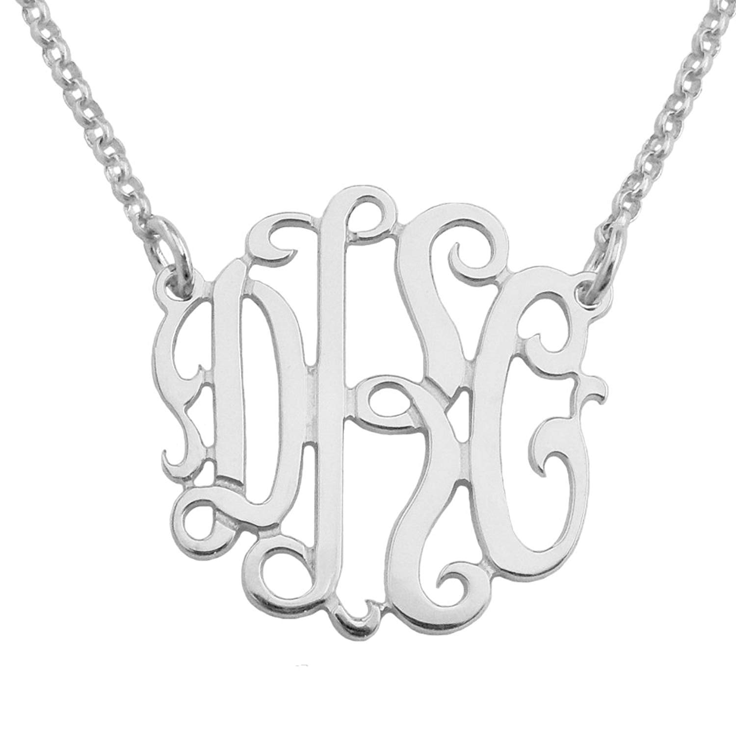 Mono62 Personalized Sterling Silver 0.875 Inch (22mm) Kids Size Three Initial Monogram Necklace