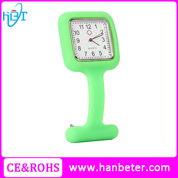 Silicone quartz watch for medical hot nurse doctor clip pin watches