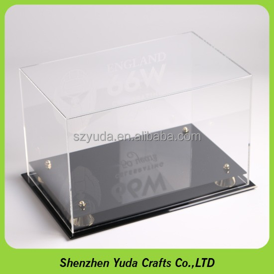 Acrylic football boot or sports shoe display case with black back and plinth