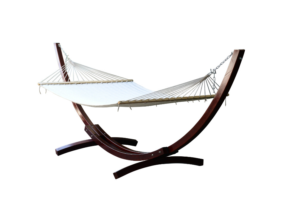 Outsunny Wooden Arc Free Camping Hammock Stand Chair With Colorful ...