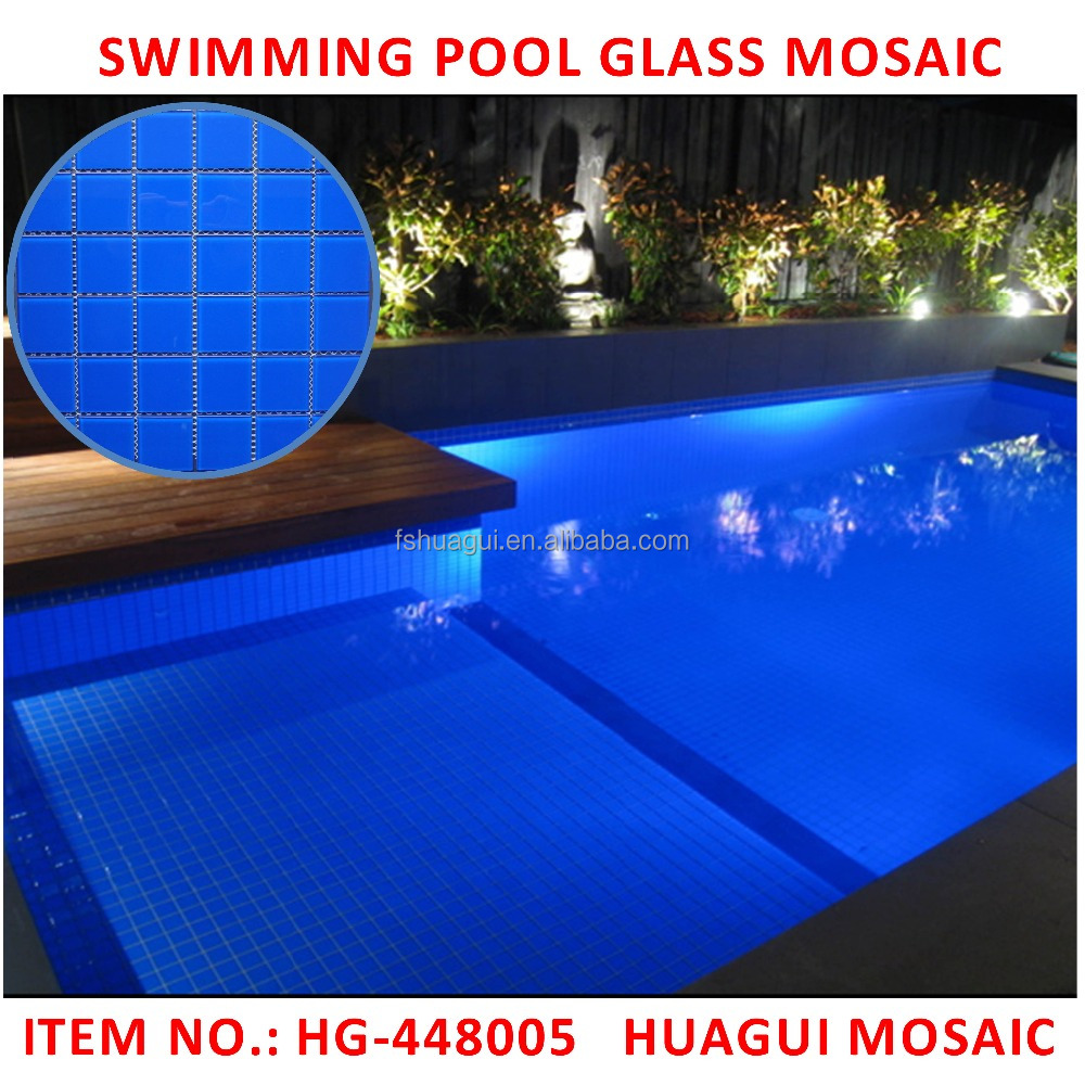 Blue swimming glass pool mosaic tile