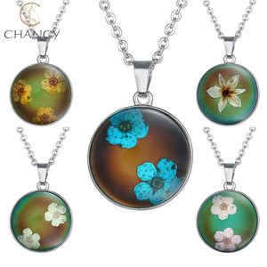 Hot sale alloy enamel round change color flower pendant mood necklace
