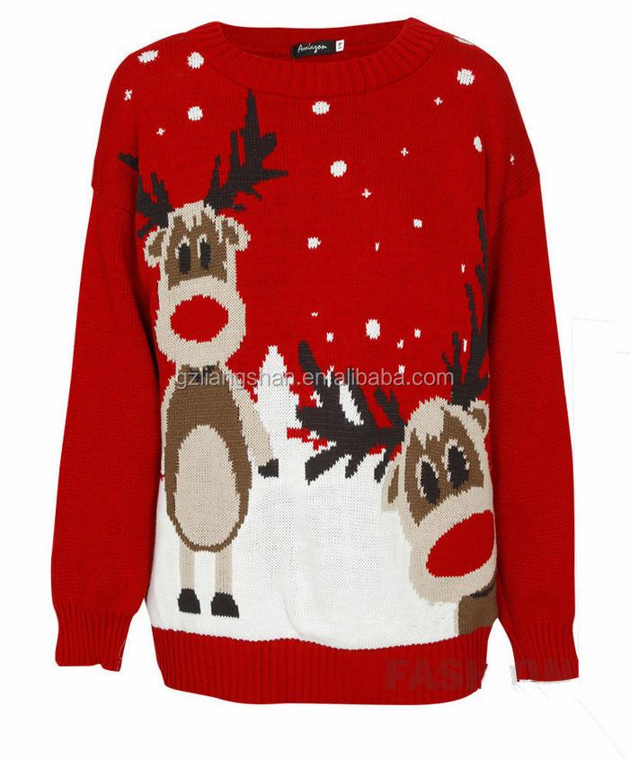 Uniseks Kersttrui.Oem Wholesale Unisex Plus Size Xmas Jumper Ugly Christmas Sweater