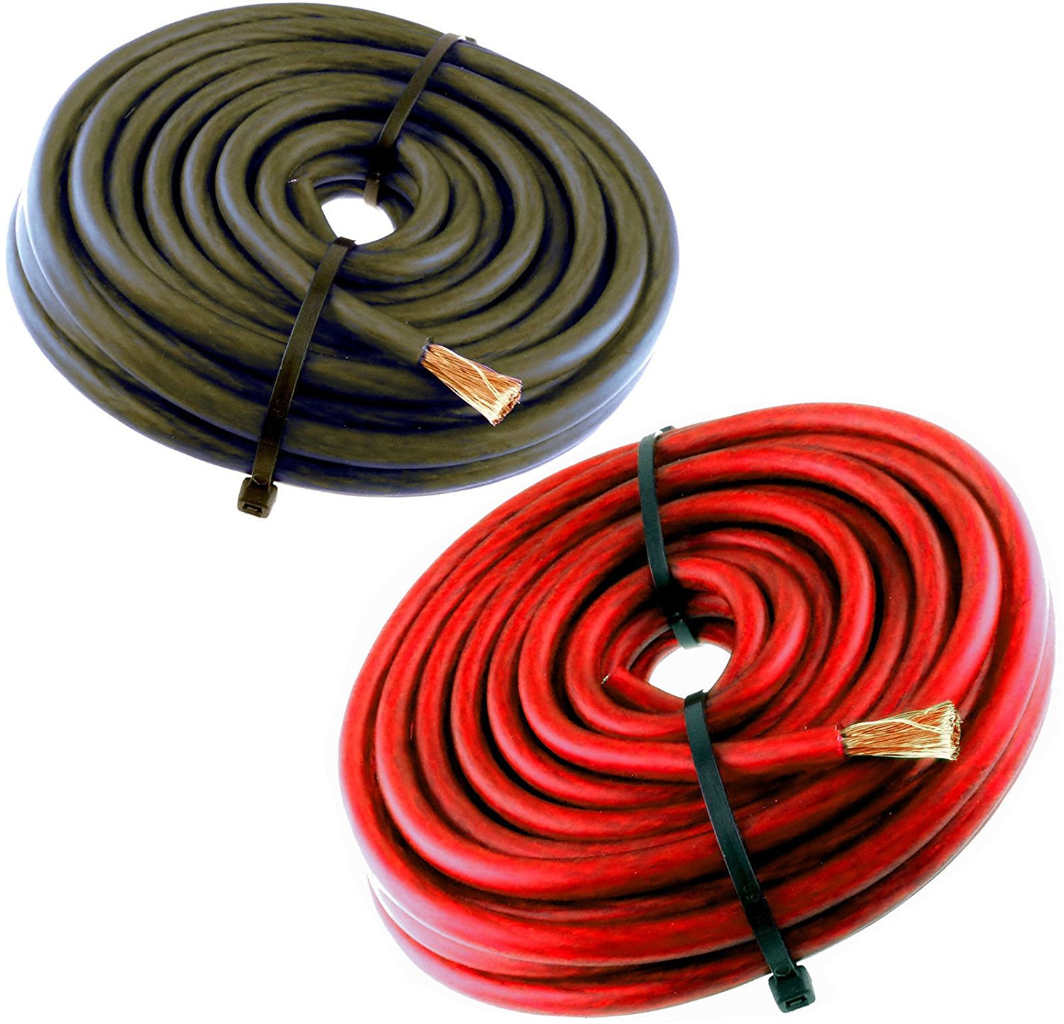 10FT 8 Gauge Primary Speaker Wire Amp Power Ground Car Audio 5' Red + 5' Black