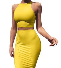 ANJAMANOR, короткий топ и юбка, комплект из двух предметов, платье желтого цвета, Клубная летняя одежда, пикантная одежда для женщин, комплекты ...(Китай)