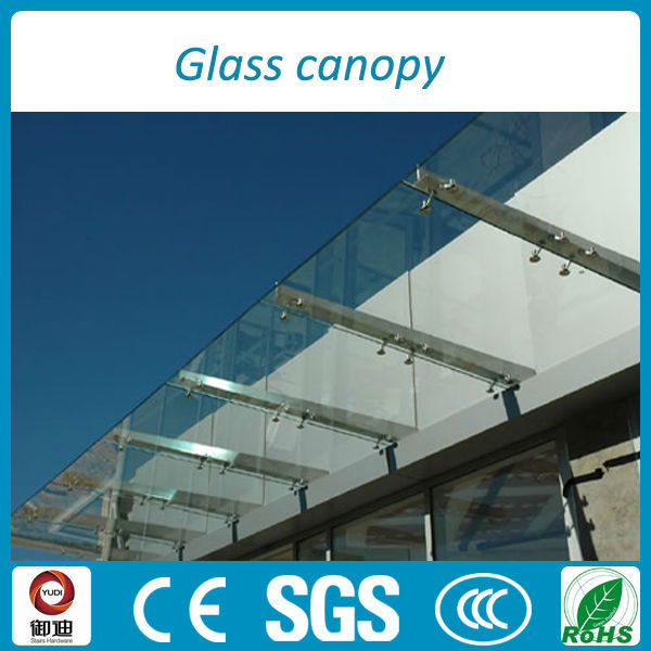 316 aisi stainless steel frame canopy with frameless tempered glass