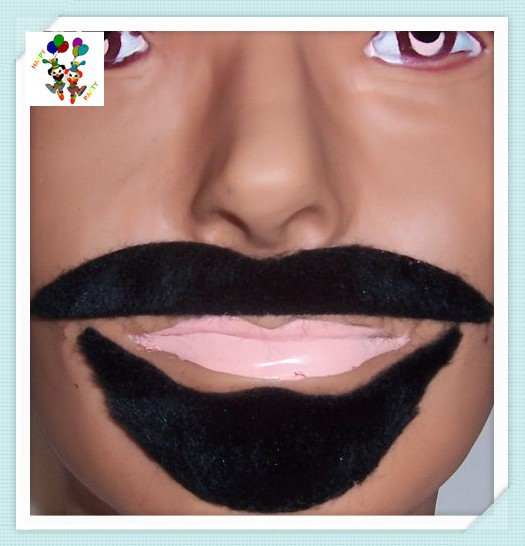 Fancy Dress Party Facial Fake Black Arabian Mustache Beard HPC-0316