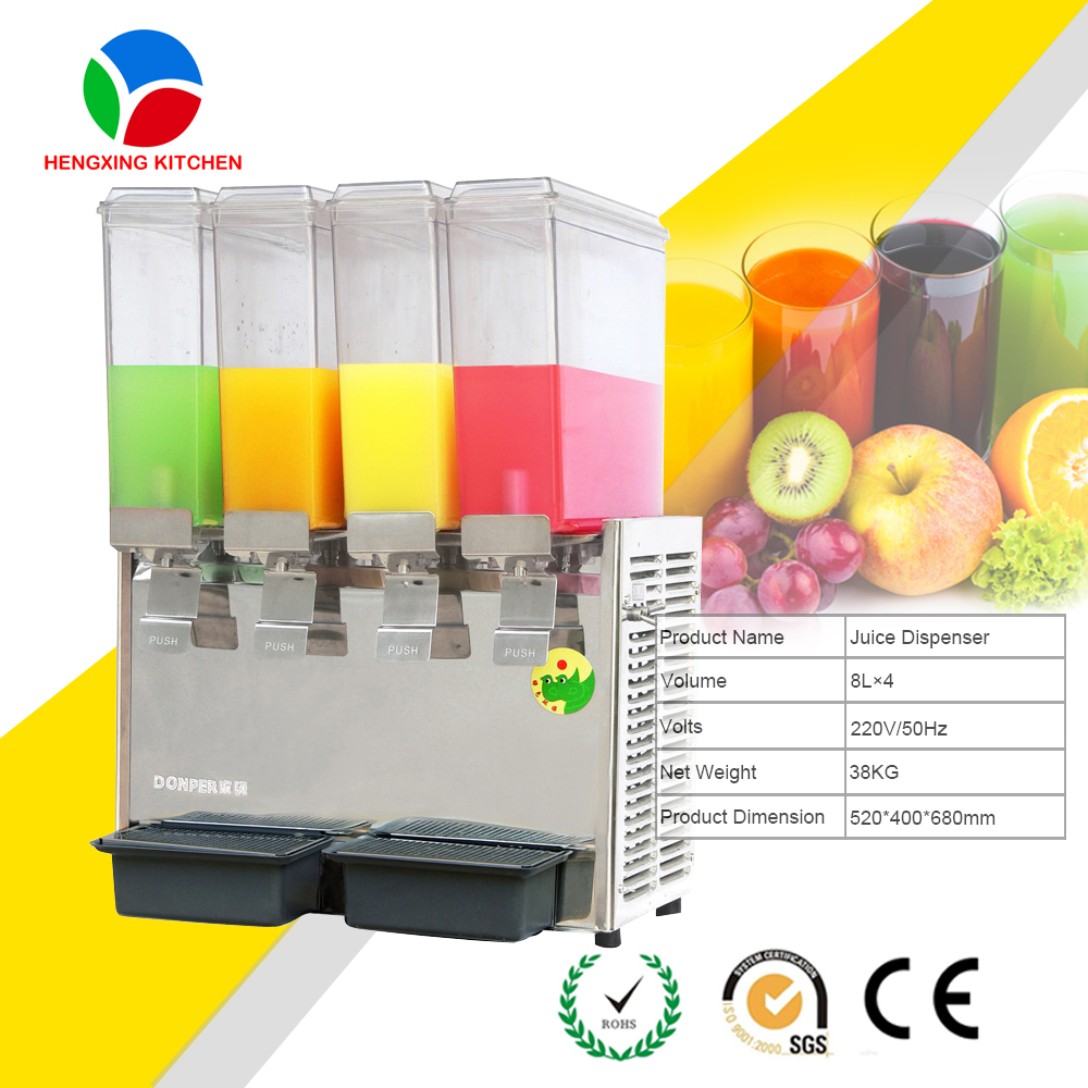 Commercial Cold Juice Dispenser/Cold Beverage Dispenser Cold Press Juicer/4 Tanks Beverage Dispenser