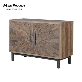Reclaimed elm low cabinet small wood storage cabinets with doors