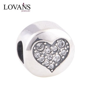 Valentine Day Gift Wholesale 925 Sterling Silver European Bead China Jewelry Silver Heart Pendants Charms YZ306