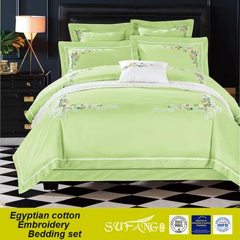 Delightful Light Green Colour Bridal Lace Bedding Comforter, Cheap Bed Sheet Set
