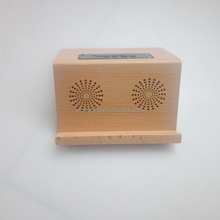 Creative solid beech wood wireless speaker and stand for mobile phone and tablet