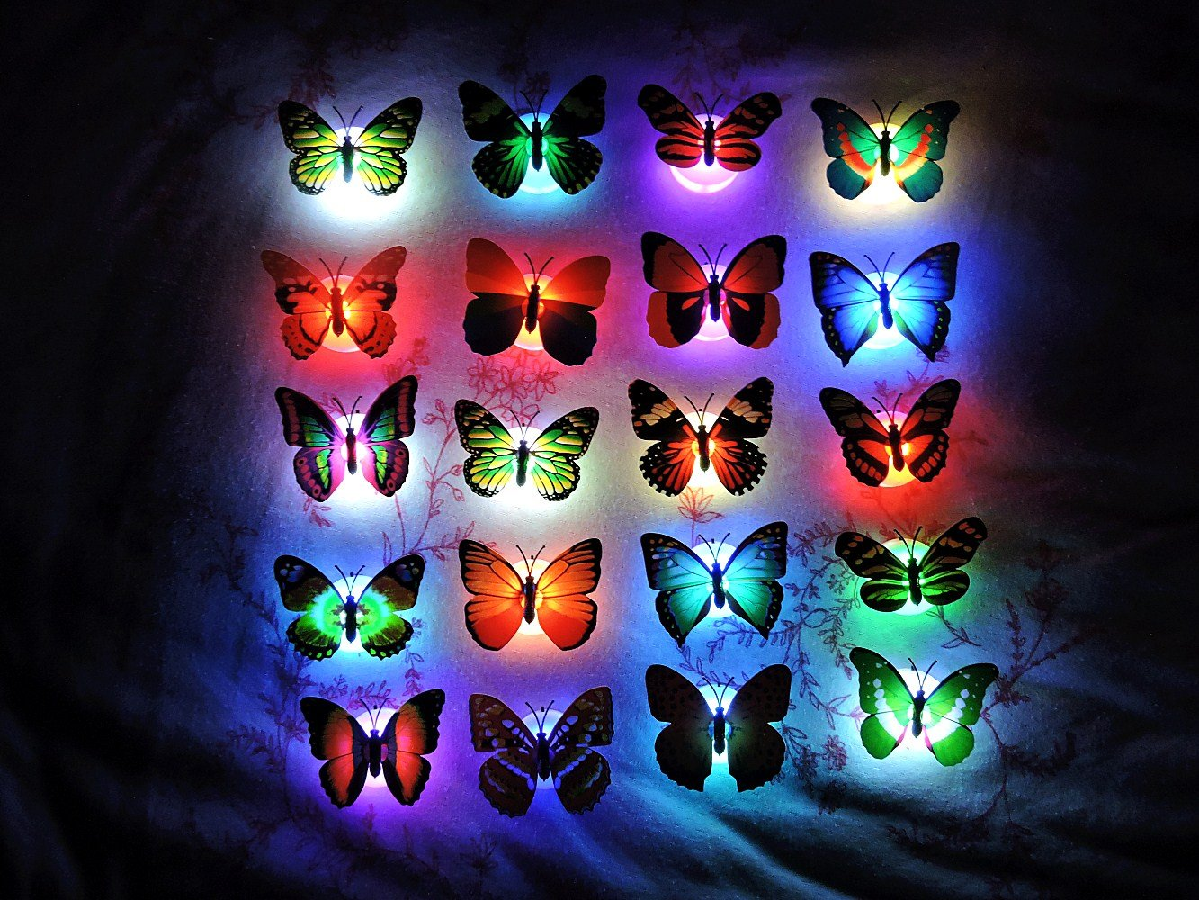 Hosyl Romantic Magic Color Changing LED Butterfly Decorative Light,Stick On Butterfly Wall Light, Battery Operated LED Night Light For Xmas Festive Garden Home Party, Pack Of 10