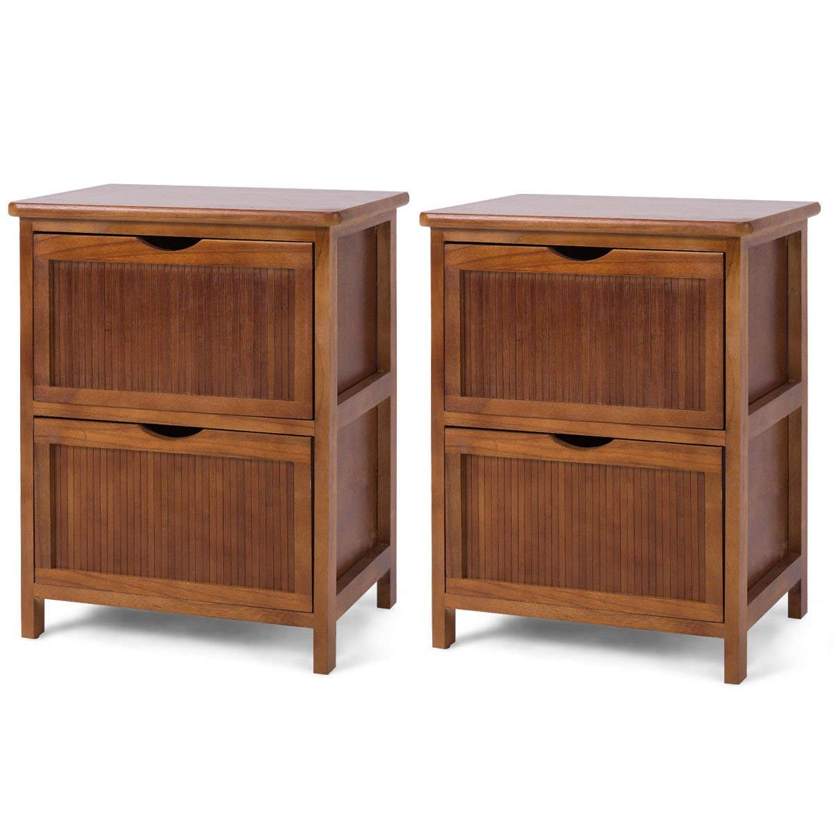 Nightstand Contemporary Bedside Table Solid Wood End Table Drawers 2 PCS