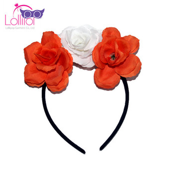 Girl headband flower Halloween hair bands polyester plastic headwear for kids