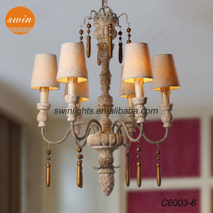 Retro Amerikanischen Holz Kronleuchter, Italienisch Hohe  Ende Eisen Sechs  Lichter Esszimmer Pendelleuchte Mit Ul