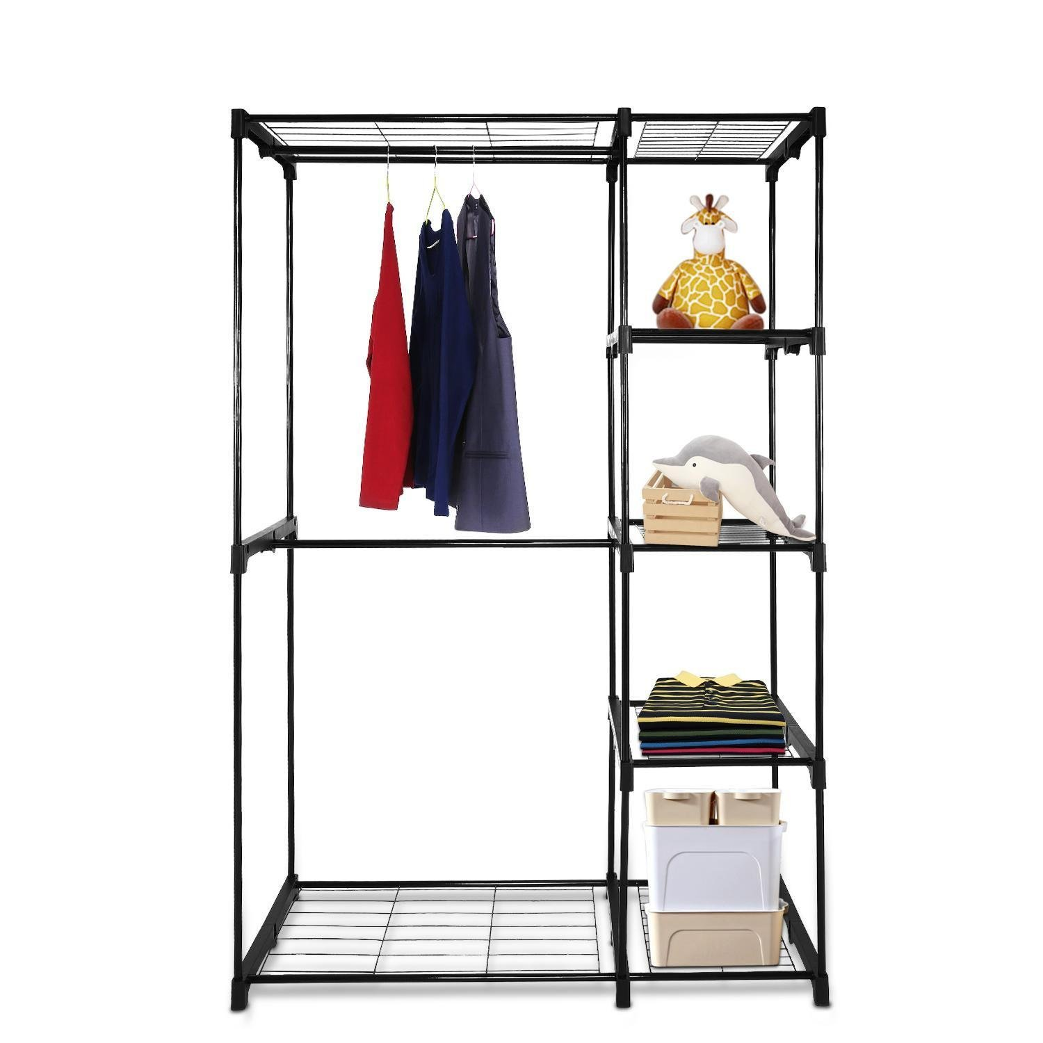 Get Quotations · Hindom Garment Rack Double Rod Freestanding Closet  Organizer, Portable Wardrobe Clothes Storage Organizer Closet With