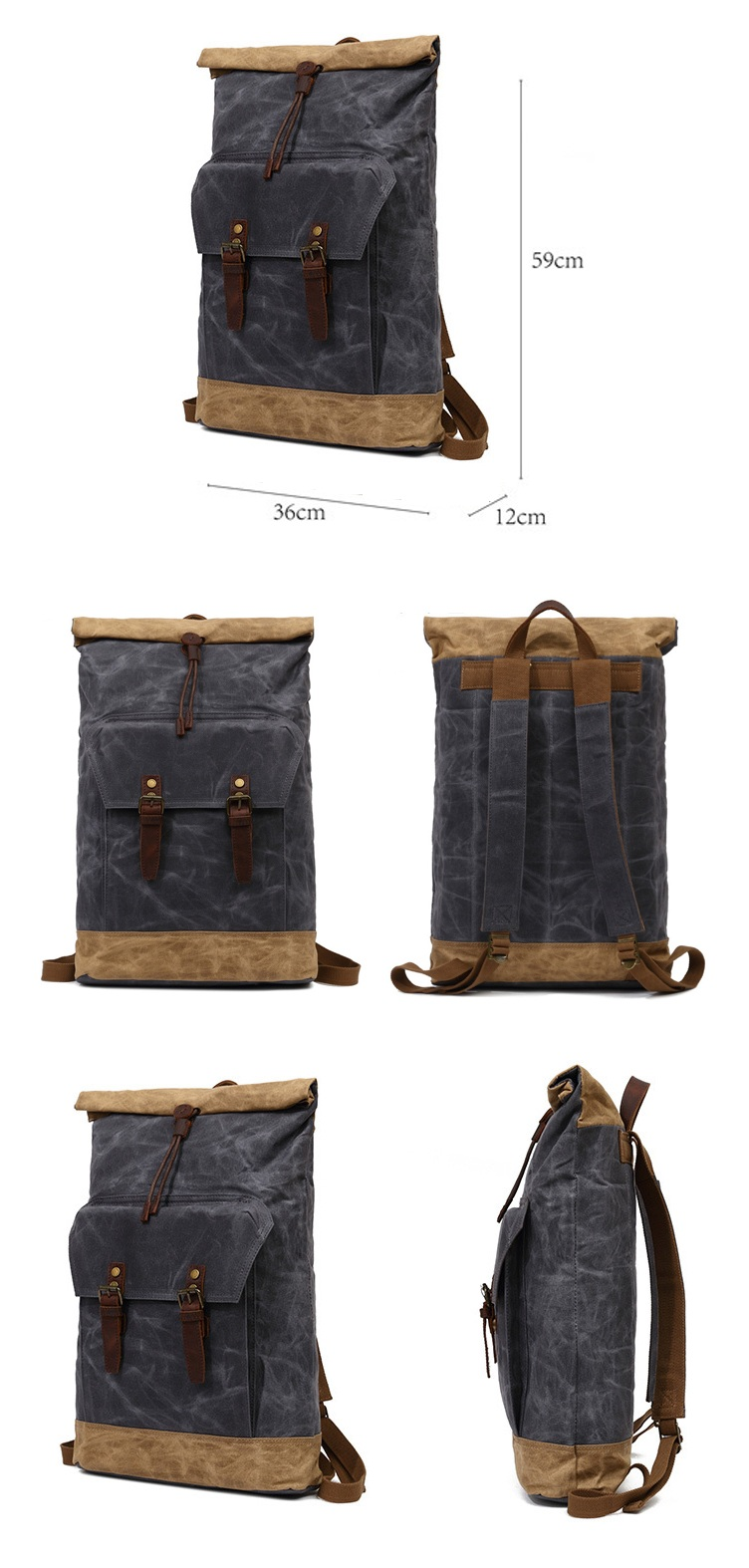 2018 Wholesale vintage new model waxed canvas leather trim water proof camping outdoor hiking rucksack backpack back pack bag