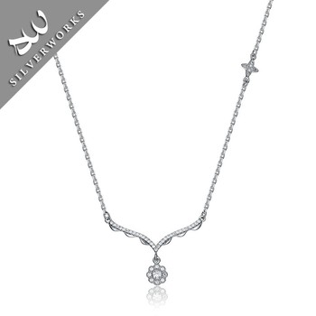 Elegant Design Women Italian Silver Wedding Jewelry 925 Chain Necklace