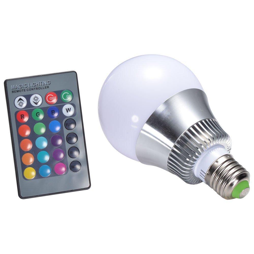 10w e27 rgb led light bulb 24 key ir remote control led lamp color changing aluminum 90 260v for. Black Bedroom Furniture Sets. Home Design Ideas