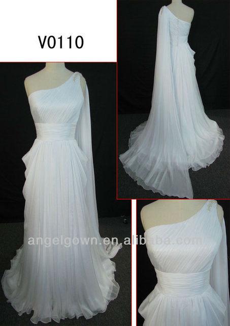 2014 Column Chiffon One Shoulder Wedding Dress With Back Shoulder