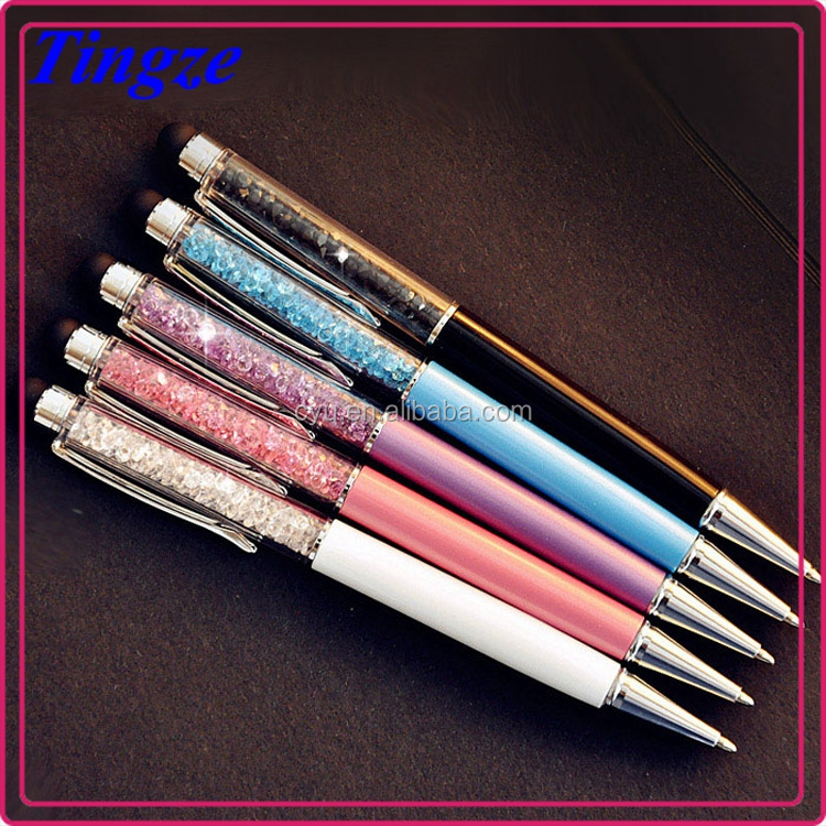 useful ball point pen,school&office crystal touch stylus metal pen crystal ball pen