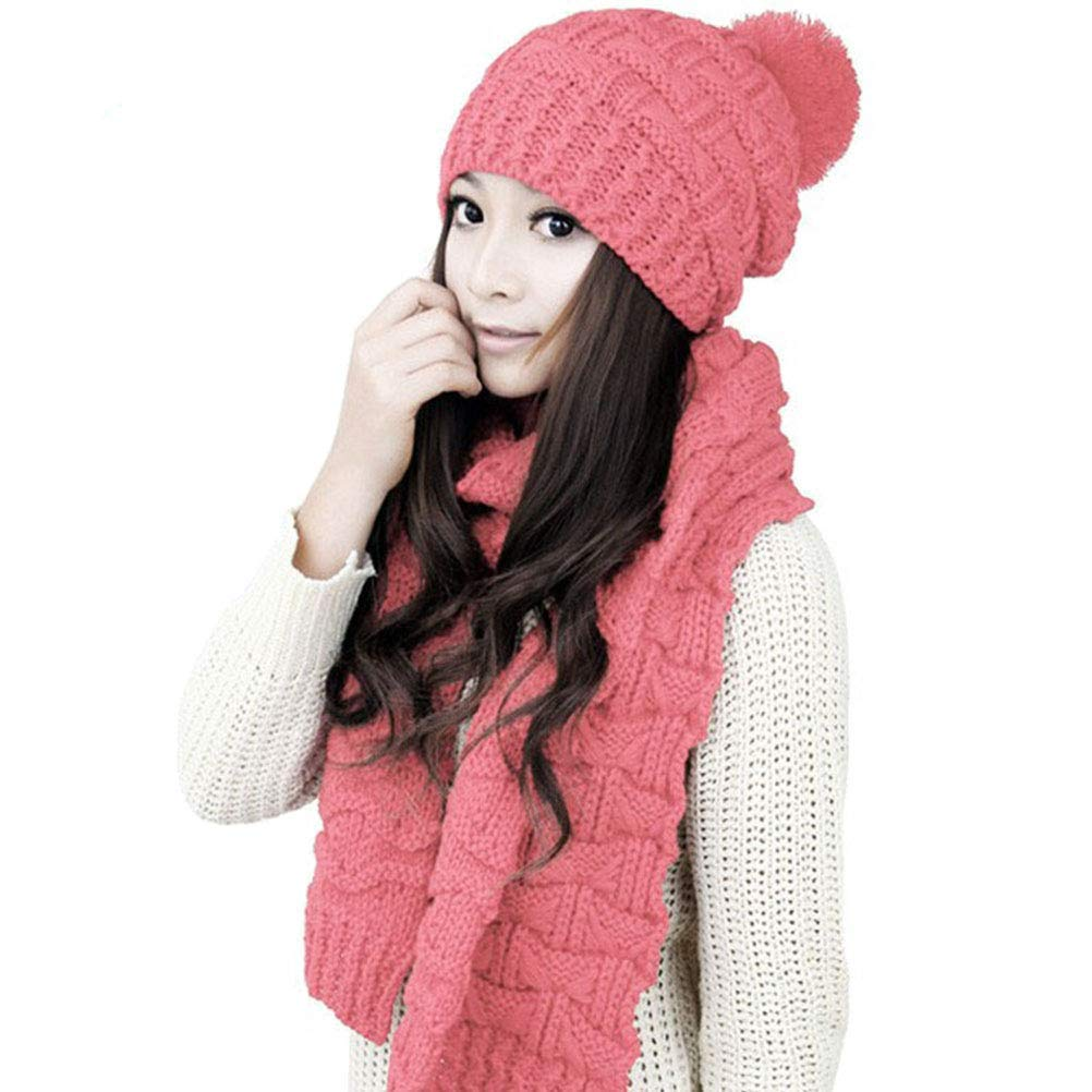 1cb557bbe23 Get Quotations · Women Girls Knitted Hat Carf Set Fashion Winter Warm  Knitted Hat with Attached Scarf Pink
