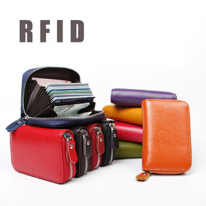 Unisex Credit Card Holder Wallet Zip Leather Card Case RFID Blocking Credit Card Holder