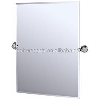 Rectangular Tilting Frameless Bathroom Mirror With Chrome Hardware And Beveled Edges