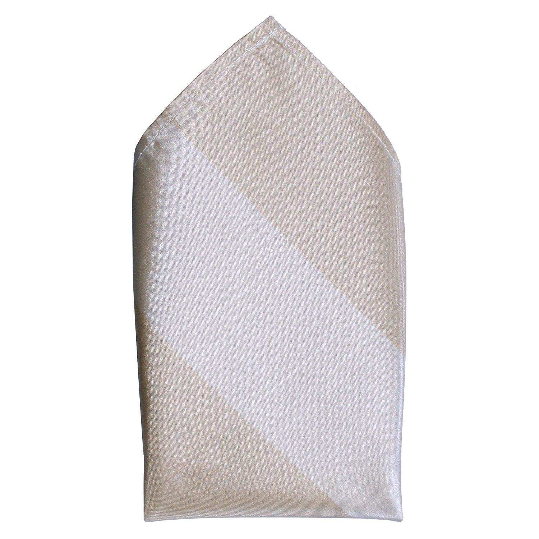 Tonal Ecru Stripes Taffeta Silk Pocket Square by ROYAL SILK