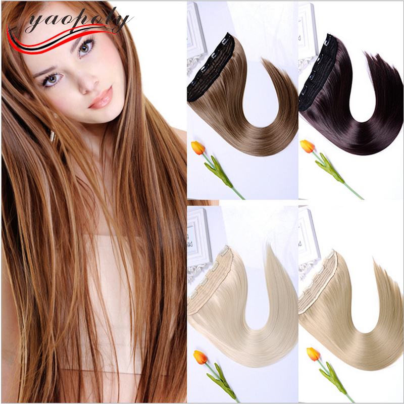 One piece 5 Clips pure color hair extension synthetic hair extension black hair long straight
