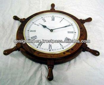 Horloge roue de bateau en bois montre pour bureau mur horloge de