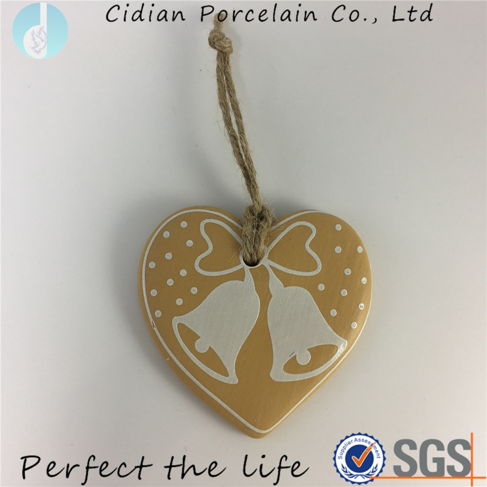 Round gold design ceramic hanging ornaments for Christmas tree