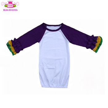 Infant triple Ruffle purple yellow green sleeve Raglan Cotton Baby icing Gowns with Long purple Sleeves
