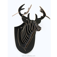 New DIY wood carved modern animal heads wall decor